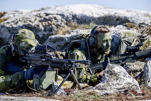Militärövningen Swenex 20 i maj i år, som bland annat hålls i Göteborgs skärgård, med stridsbåt 90 och stridande markpersonal. Foto: Adam Ihse / TT.