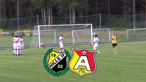 Åbyggebys Alexander Sjöström har precis lobbat in 0–1-målet bakom duktige Pontus Norrby i Hille-målet. Ett mål som visade sig bli matchavgörande. Bild: Hugo Höglund