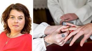 Äktenskapet har både en juridisk och ekonomisk betydelse i Sverige, och vi har likhet inför lagen. Att använda sig av den juridiska rätten att slippa viga homosexuella och samtidigt undkomma skyldigheter som medmänsklighet och allas lika värde rimmar illa med grundläggande värderingar, skriver Martha Wicklund (V).