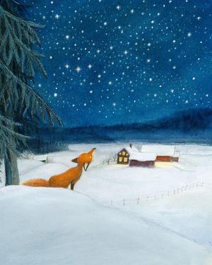 """Vackert vinterlandskap i Astrid Lindgrens """"Räven och tomten""""."""