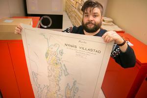 Kartan märkt Nynäs villastad är från 1904. Då hade villastadsbolaget funnits i fem år, berättar Patrik Appelkvist Larsson, kommunarkivarie.