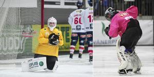 Målvaktsspelet står i fokus under regeltesterna. På bilden Edsbyns Anders Svensson och Vänersborgs Kimmo Kyllönen. Bild: Andreas Tagg/Jonna Igeland