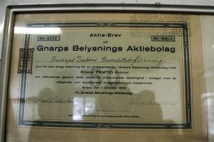 En aktie i Gnarps Belysnings AB från 1919  med kraftstationen i Milsbron byggdes redan 1915.