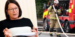 Lenita Granlund, avtalssekreterare på Kommunal, förhandlar om deltidsbrandmännens arbetsvillkor. Foto: Henrik Montgomery, Johan Nilsson