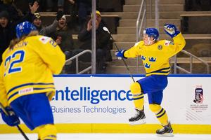 Fabian Zetterlund jublar över sitt 2–0-mål.Bild: Joel Marklund/Bildbyrån