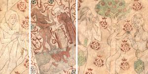 Brita Olofsdotter Tott i Nådastolen, häxan, djävulen och trollhararna, och Adam och Eva i Lustgården.