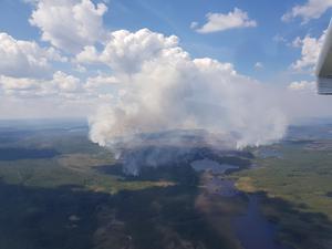 Så här såg det ut när brandflyget flög över Fågelsjö i tisdags. Foto: Brandflygaren Emil Jonasson