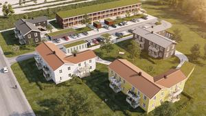 Ritning från Faxeholmen på hur det nya kvarteret ska se ut.