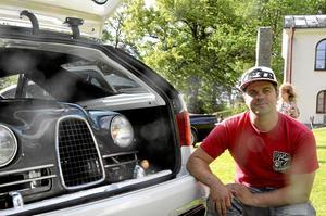 Mats Englund, från Löa, tävlade i klassen ljudbil med en kreation som han jobbat på i tre år. - Jag är fantastiskt nöjd med resultatet, säger han.