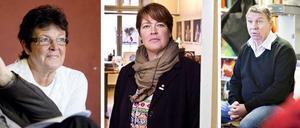 Moderaternas oppositionsråd Inger KällgrenSawela (till vänster) vill inte att kommunen ska bekosta en ombyggnad av bassängen. Kommunalrådet Carina Blank, S, (i mitten) säger att frågan hanteras av Kultur & Fritid. Kultur- och fritidsnämndens ordförande Lars-Göran Ståhl, S, (till höger) hoppas att Gävle kan få SM-veckan utan sim-SM.