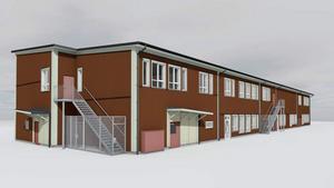 Illustration över hur varumottagningen kan komma att utformas på den nya grundskolan.