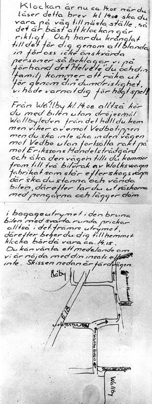 Utpressningsbrev riktat mot familjen Nicolin.