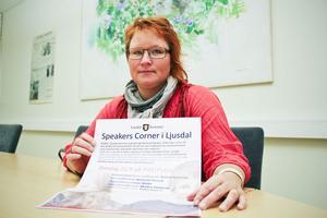Speakers corner blir ett nytt inslag i Ljusdal från och med i dag onsdag. Malin Ängerå (S) har fått detta som en