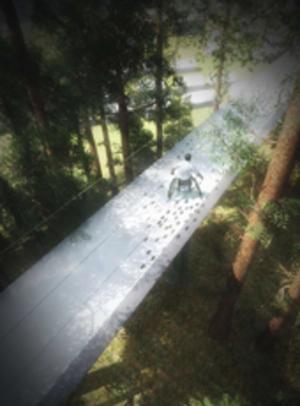 En gångbana skulle göra promenader bland trädtopparna möjliga. Grafik: Färgfabriken