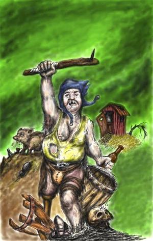 En Lodisvariant av omslaget till Drakar och Demoner.