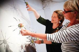 """Annika Persson och Åsa Maria Hedberg försöker lista ur hur de ska hänga Jacob Danhards spindlar för att få största möjliga skuggeffekt. I morgon har Drejeriet vernissage för sin sommarutställning """"Kusar och kryp""""."""