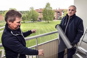 Peter Engberg och Tommy Andersson från Anticimex sätter upp nät på en balkong i Nacksta, där man har problem med påflugna duvor.
