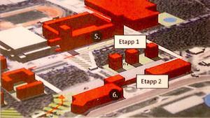 Travets planer i två etapper. Den första omfattar tre tiovåningshus och den andra kontor, hotell, handel och den nya entréhallen.