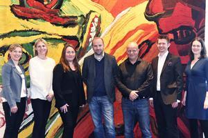 Representanter från fastighetsbolaget Hemfosa på plats i Örnsköldsvik, tillsammans med Nicklas Nyberg och Anna Edblad från Nybergs.