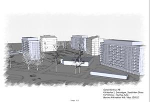 Här är tanken att de nya husen ska byggas upp. Sammanlagt kan det bli upp till 74 nya lägenheter.
