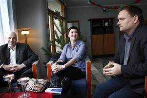 Nöjda stipendiater. Stefan Eriksson, Camilla Niss och Lars Löfqvist, forskare på Högskolan i Gävle, belönas med Sandviks forskarstipendium.