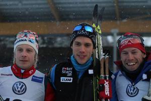 Lars Nelson, Marcus Hellner och Emil Jönsson tog de tre medaljerna.Foto: Thord Eric Nilsson