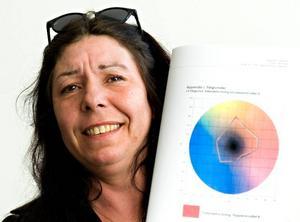 Färgstarkt arbete. Katrina Liljeroth går fjärde året på ingenjörsprogrammet grafisk teknologi. För sitt examensarbete på uppdrag av Kvarnsvedens pappersbruk har Katrina tilldelats 2006 års studentpris. Foto:MattiasNääs