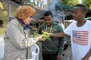 Nyskördat. Ulla Simmons, Yohannes Gebrit och Tomas Berhane sålde bland annat koriander från lokala koloniföreningen.