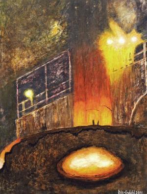 """Målningarna glöder när Peter Endahl ger sig in i """"Das Stahlwerk""""."""