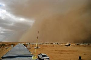 Så här kan det se ut när en sandstorm drar fram. Bilden togs i Egypten i oktober 2015.
