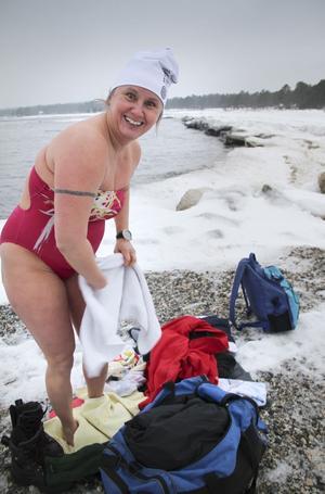 Innan SM-tävlingen gjorde Anna-Carin Nordin ett kort vinterpass i Sörfjärden.