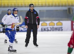Roland Fager under kvartsfinalen mellan Finland och Vitryssland. Finand vann med 17–3.
