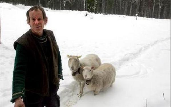 Helge Sonntag vid en av de gamla ängarna på Dikarbacken, tillsammans med ett par av de får som finns där, för att hålla marken ren. FOTO: VERONICA RIGTORP