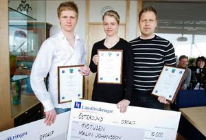 """Kalle Johansson och Malin Johansson, båda 16 år, fick i går varsitt stipendium för sina insatser inom idrotten. """"Det här hade jag verkligen inte förväntat mig. Men naturligtvis är det jätteroligt att få ett så fint stipendium"""", säger Malin Johansson. Med på bilden är också Mats Palmqvist som fick ett stipendium för sina insatser som ungdomsledare i Östersund ishockeyklubb.  Foto: Ulrika Andersson"""