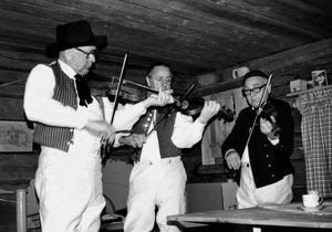 Werner, Evert och Gösta Wernberg spelar i ett härbre vid Späcksjön.