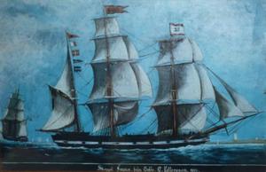 """Barkskeppet """"Fama"""" som var byggt 1833 var nära att gå under vid Utvalnäs i oktoberstormen 1842."""
