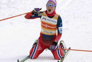 Therese Johaug efter vinsten i Kanada i förra veckan.