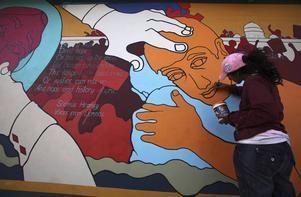 Ett exempel på muralmålning. Bilden är från Bhopal i Indien.