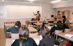 Lena Gustafsson under en lektion med klass 7 C på Parkskolan.FOTO:ANDERS BJÖRKLUND