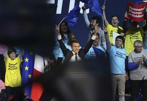 Emmanuel Macron under ett möte i Nantes, västra Frankrike.