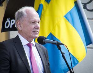 En av talarna vid nationaldagsfirandet vid Gruvan var kommunfullmäktiges ordförande, Karl-Erik Pettersson (S).