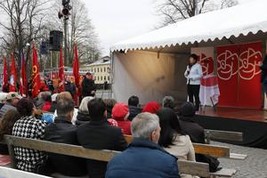 Mona Sahlin, före detta partiledare för Socialdemokraterna, höll tal.