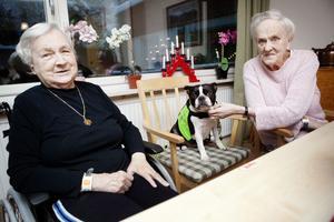Gunvor Hedman och Sigbritt Sundberg tycker att det är roligt varje gång Trixie kommer på besök.