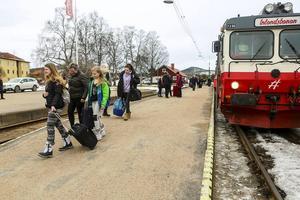 En femtedel av resenärerna på vinterns snötåg åker till eller från Sveg. På Skärtorsdagen var det många som klev av just där.