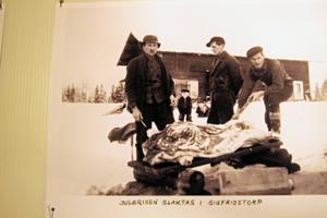 Ett gammal bild från början av förra seklet när julgrisen slaktats i grannbyn Sigfridstorp.
