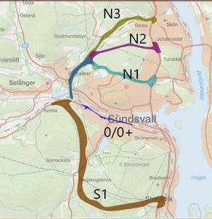 N1, N2 och N3 är alla alternativ norr om staden. Bild: Trafikverket