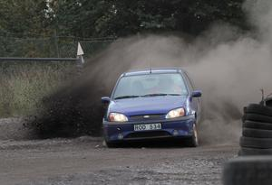 Snabbast av alla, Tobias Hillbom i en Ford Fiesta, men inte vinnare. Foto: Jonny Persson