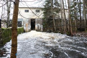 Luckorna är helt öppna och släpper igenom så mycket vatten som är möjligt vid kraftstationen vid Masugnsdammen. Det håller dock inte jämna steg med vad som just nu rinner till Tisaren i form av nederbörd.