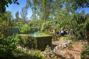 Sunken garden är en trädgårdsfilosofi som har sin grund hos munkarna. Lenny Clarhäll har döpt sin till Sorrento, efter duvan i den lilla dammen som är köpt i den italienska byn. Här sitter han gärna på bänken och tar det lugnt.