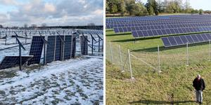 Nu och då. Solcellsanläggningen efter Alfridas framfart och den 23 september 2018.